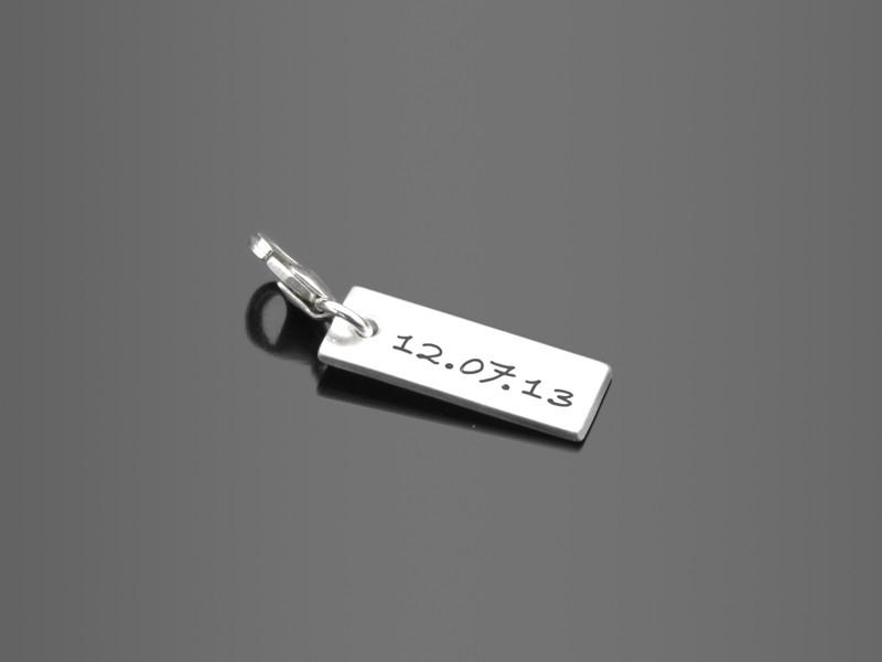 SQUARE 925 Silber Charm mit Namensgravur