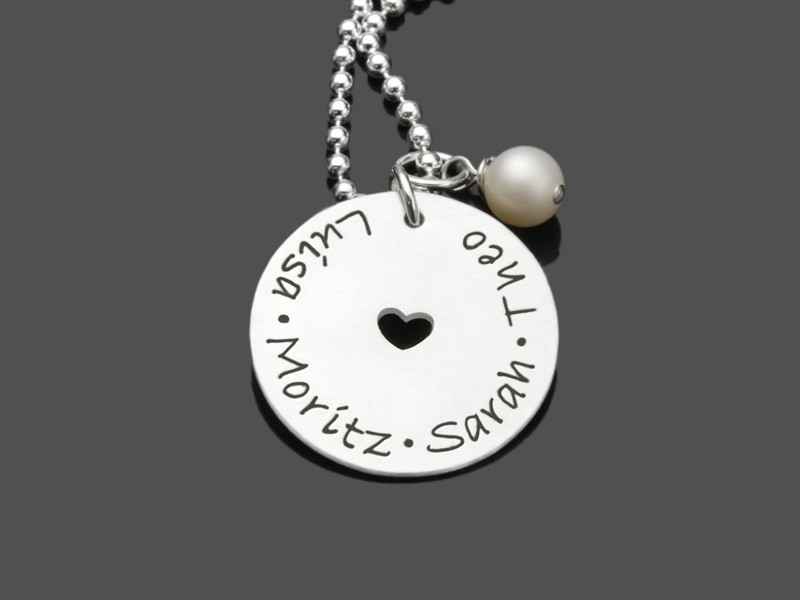 Namenskette AROUND MY HEART 925 Silber Kette mit Gravur