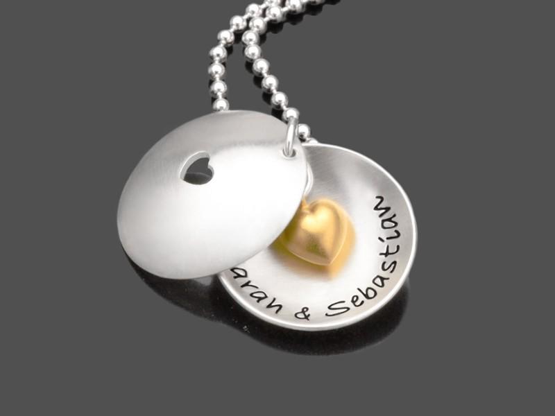 Brautschmuck IN MY HEART GOLD 925 Silberkette Hochzeit Gravur