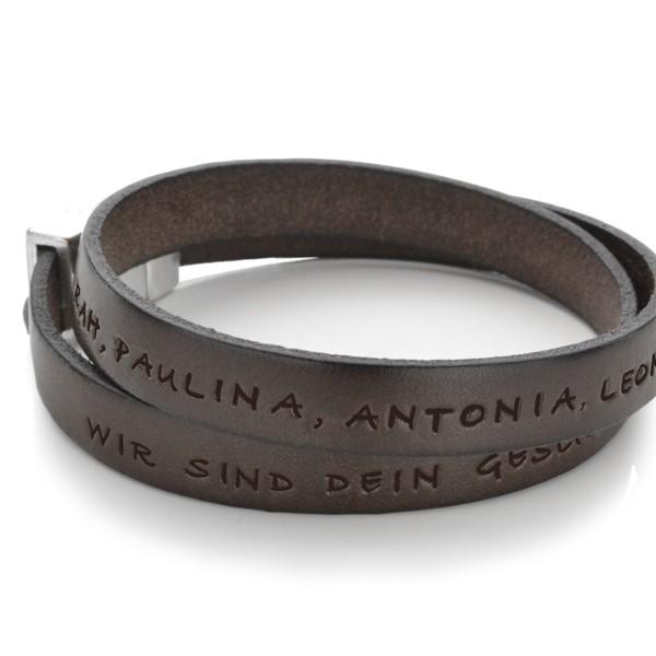 Armband für Männer aus Leder mit Gravur