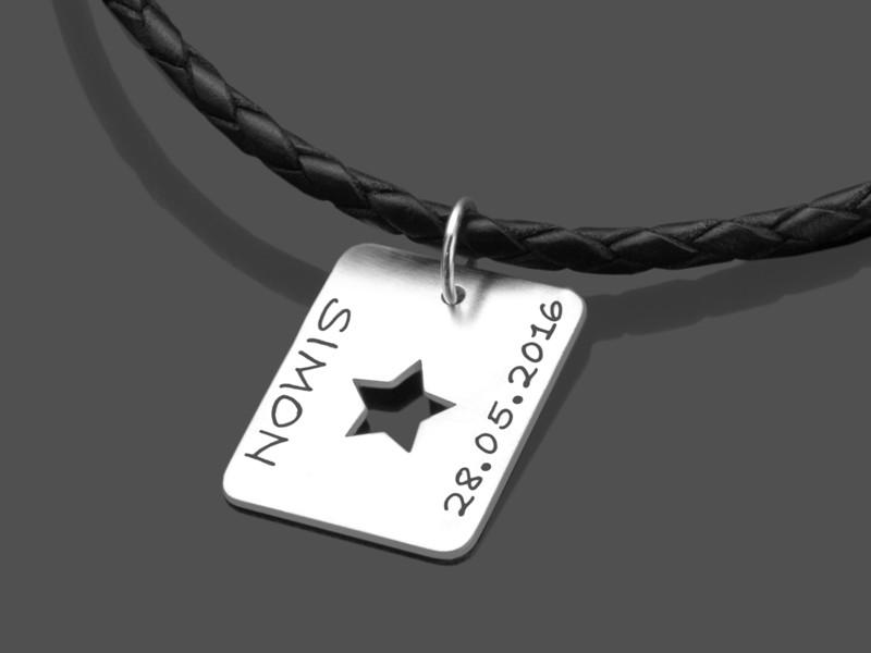 Männerkette STAR TAG MEN 925 Silber & Leder Kette mit Namensgravur