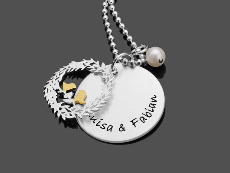 Namenskette LOVE BIRDS 925 Silberkette mit Namensgravur Hochzeit