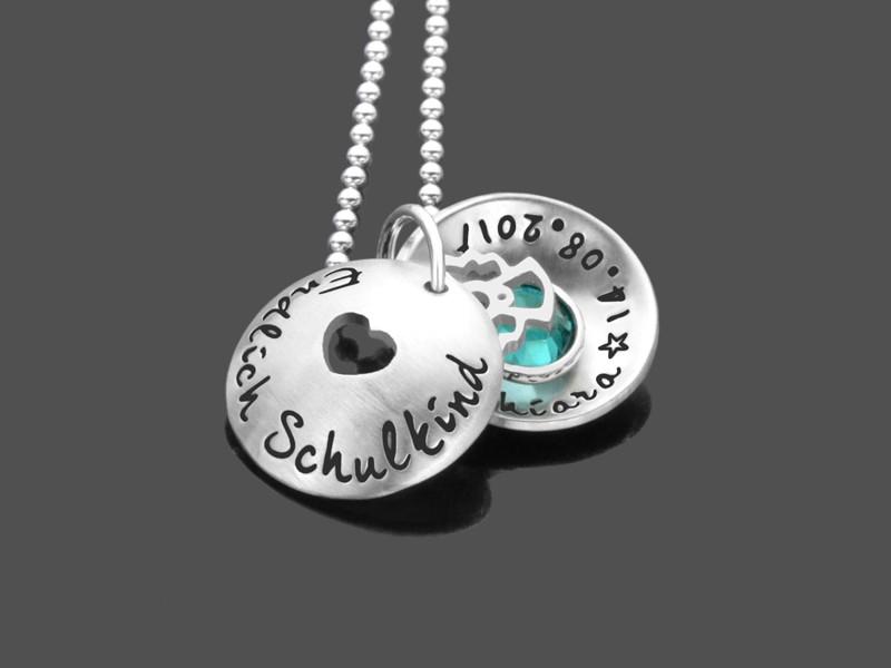 Kette zum Schulanfang ENDLICH SCHULKIND 925 Silber Gravur