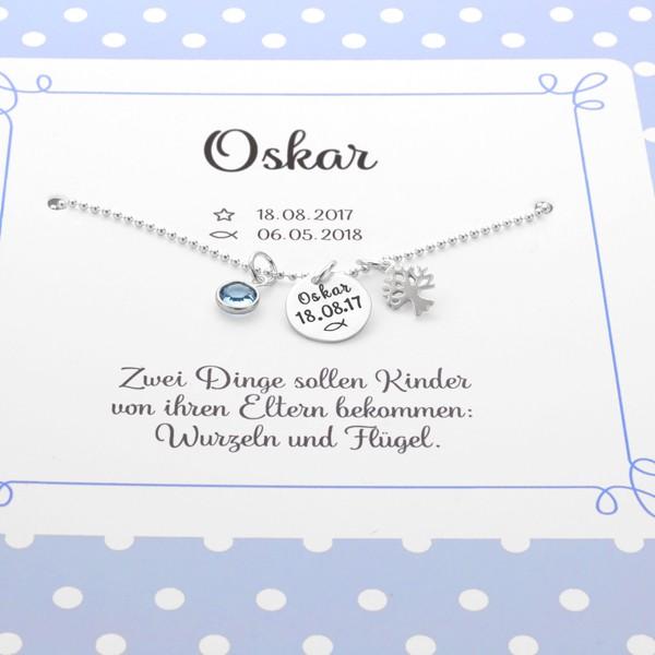 Taufkette Junge MEINE TAUFE LEBENSBÄUMCHEN 925 Silber