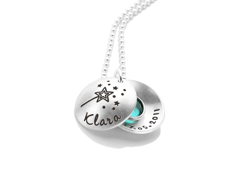 Kinderkette FEENZAUBER Namenskette für Mädchen mit Motiv Zauberstab