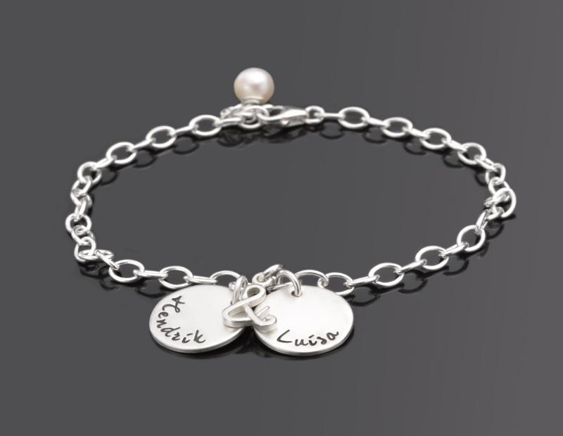 Armband mit Gravur DU & ICH 925 Silberarmband mit Namen