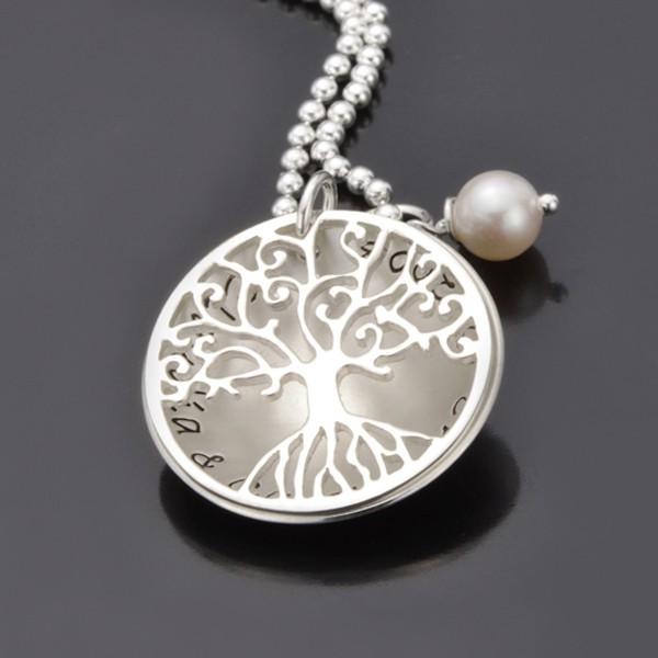 TREE OF LOVE 925 Silber Kette, Textschmuck mit Gravur, Namenskette