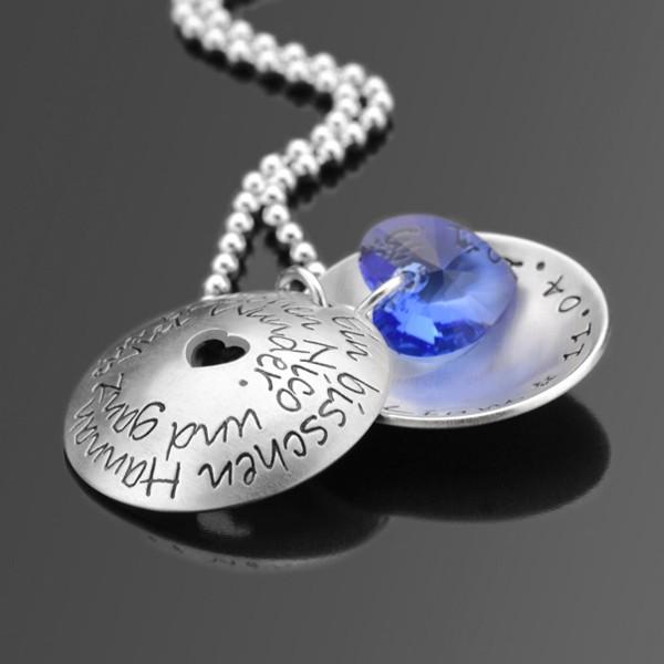 Silberkette mit Text, Namen und Daten, Geschenk zur Geburt