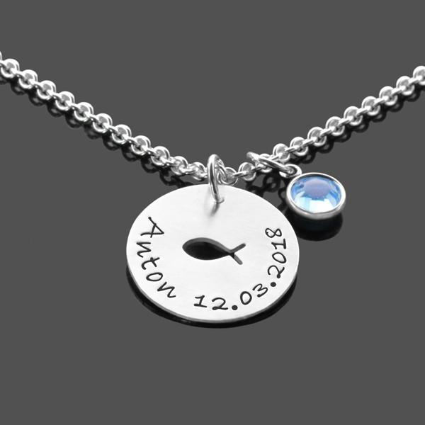 Taufkette-Jungs-Kristall-Silberkette-Taufschmuck