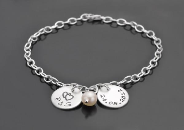 OUR DATE 925 Silber Armband für Paare zur Verlobung oder Hochzeit