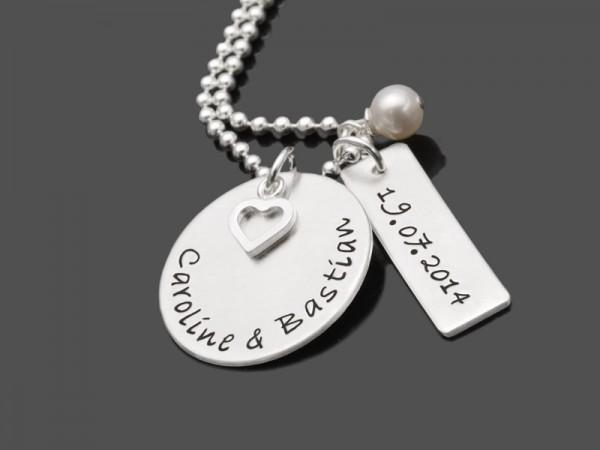 Partnerschmuck OUR LOVE 925 Silberkette Gravur Hochzeit