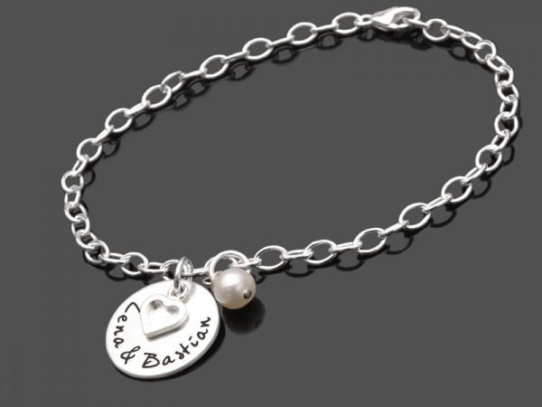 Silberarmband OUR LOVE 925 Silber Gravur Hochzeit Partnerschmuck