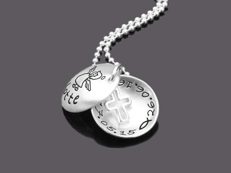 HOLY 925 Silber Kinderkette zur Taufe mit Namensgravur Kreuz Taufschmuck
