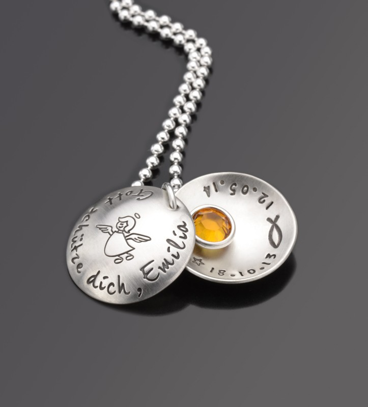 Taufkette mit Gravur SCHUTZENGELCHEN MAXI 925 Silberkette