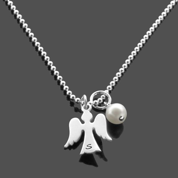 Namenskette-Gravur-925-Silber-Kette-Initialen-Schutzengel