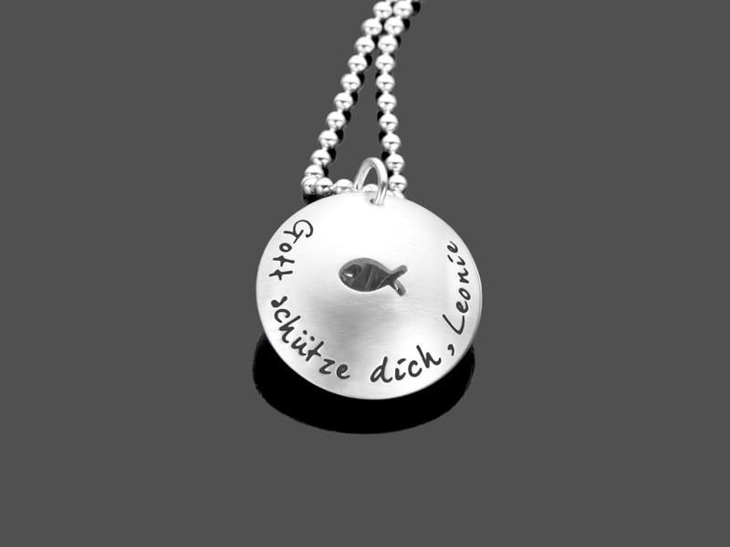 Taufkette ICHTHYS MAXI 925 Silbermedaillon Geschenk zur Taufe