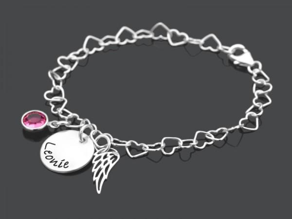 WINGED 925 Silber Herzarmband mit Namensgravur Wunschtext Taufe