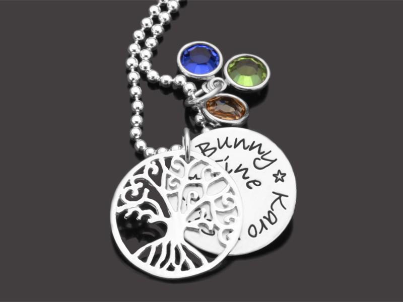 LEBENSBAUM FAMILIE 925 Silberkette mit Namensgravur Freundschaftskette
