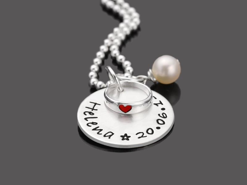 GESEGNET LIEBE 2.0 Taufkette mit Taufring 925 Silber
