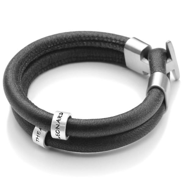 Namensarmband-Lederarmband-Sterling-Silber