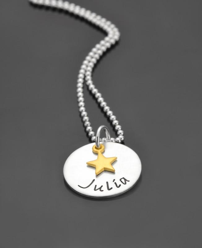 Kinderkette mit Gravur KLEINER STERN GOLD 925 Silber