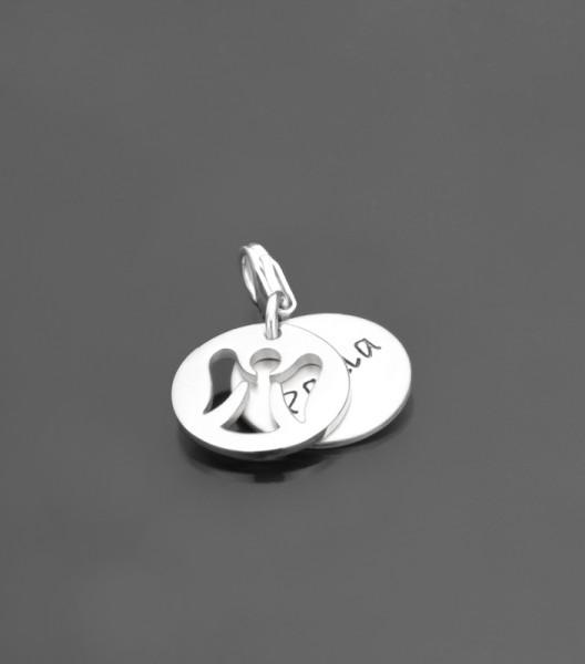 HIDDEN ANGEL 925 Silber Charm mit Gravur, Schutzengel