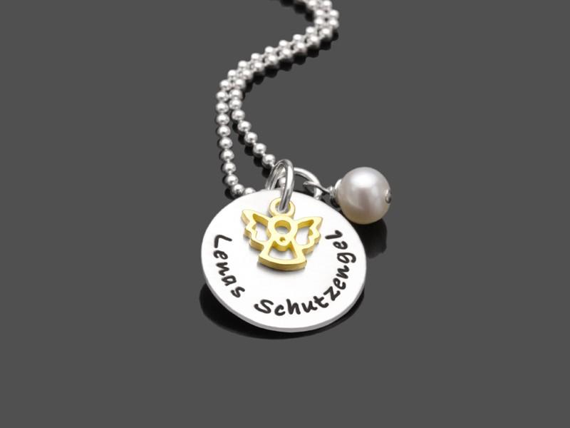 Kinderkette MEIN KLEINER ENGEL GOLD 925 Silber mit Namensgravur