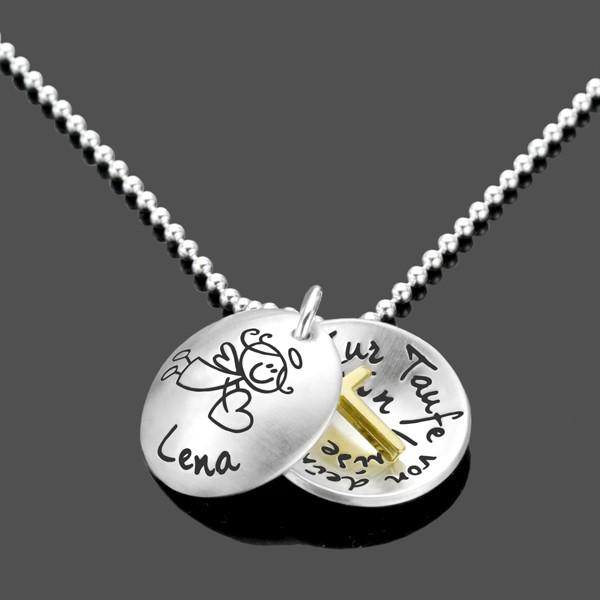 Taufschmuck-Medaillon-Silberkette-Taufkette-Engel