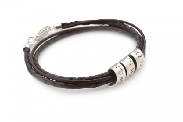 2-IN-1 LOOP Armband mit Gravur, 925 Silber, Leder