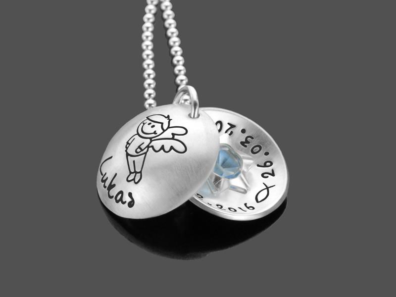 Taufkette für Jungen mit Gravur aus Sterling Silber