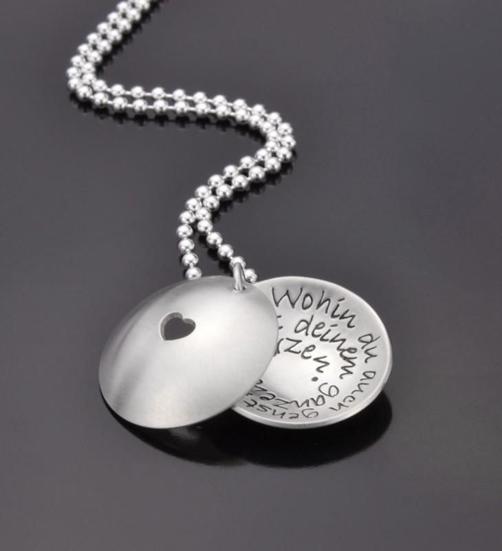 MESSAGE IN A SHELL - HEART Kette mit persönlicher Gravur, 925 Silber