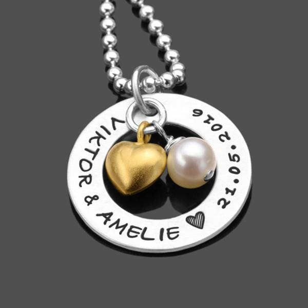 Partnerschmuck HEART & PEARL 925 Silberkette mit Namensgravur