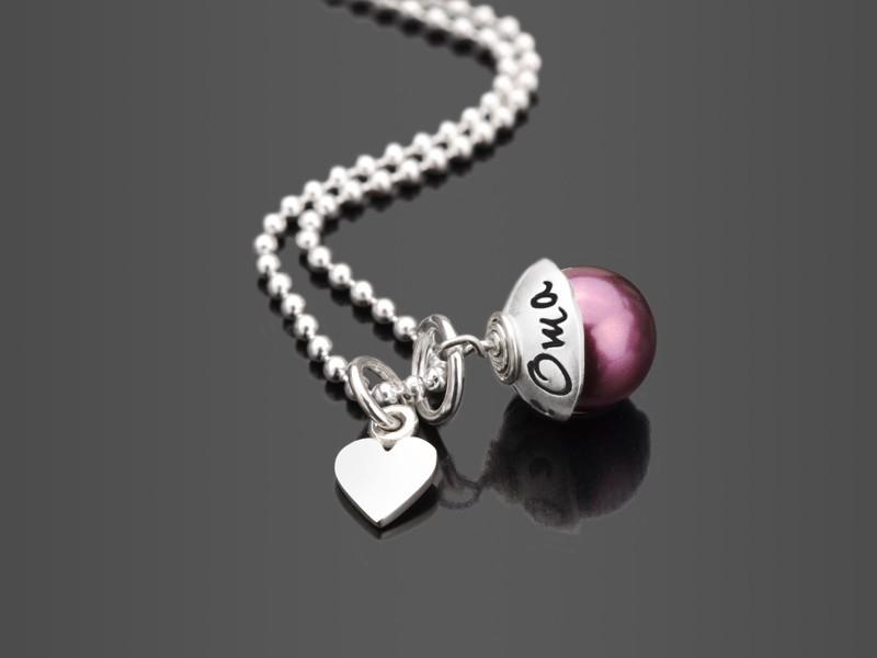 BESTE OMA 925 Silberkette mit Gravur Herzanhänger Perle