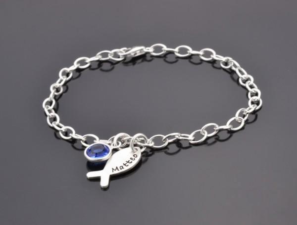 Taufarmband WILLKOMMEN 925 Silber Armband mit Gravur. Namensschmuck