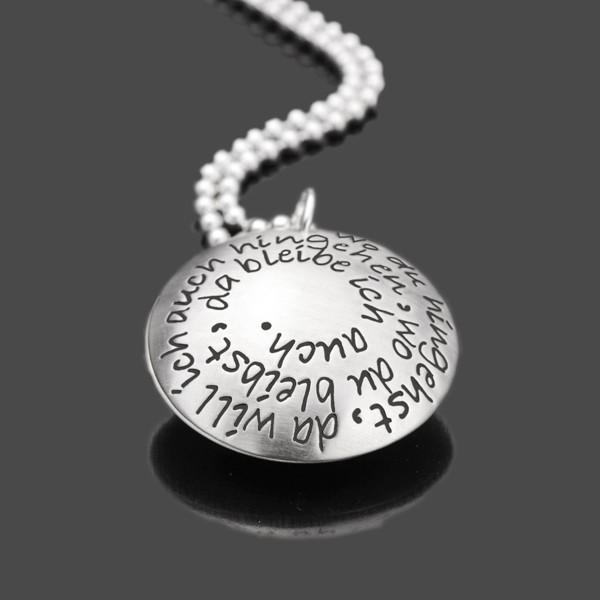 WO DU HINGEHST 925 Silber Medaillon, Silberschmuck mit Wunschtext