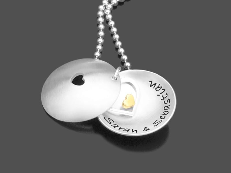 Namenskette Partnerkette HERZ IN HERZ Kette mit Gravur 925 Silber