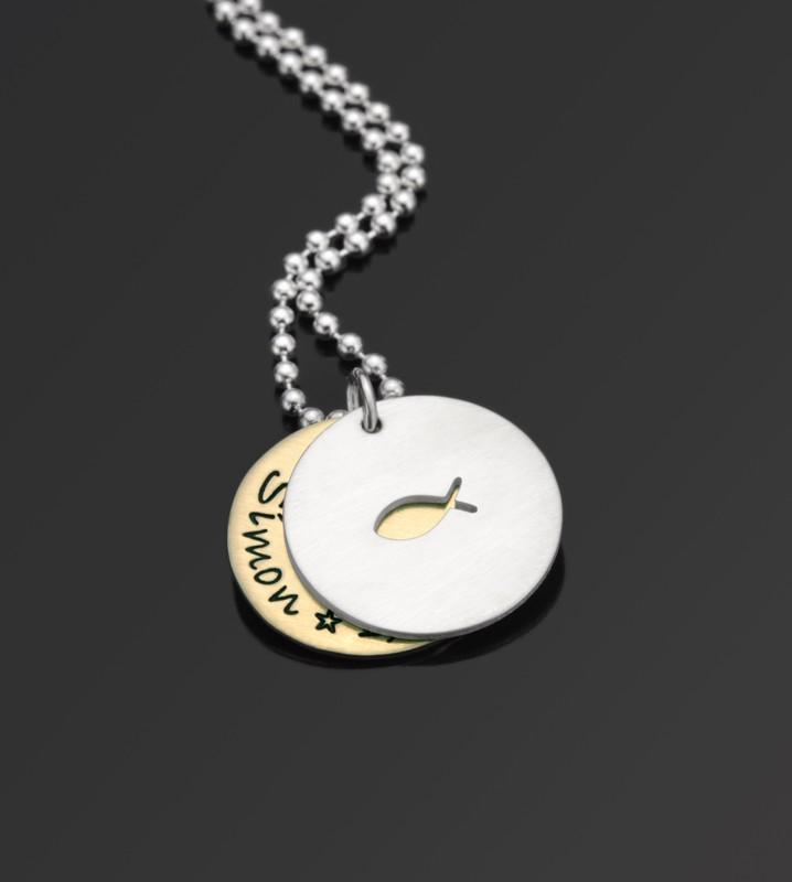 ICHTHYS 925 Silber Taufkette mit Wunschtext Gravur Name Datum