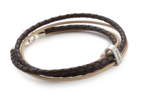 2-IN-1 HEART Armband mit graviertem Silberherz, 925 Silber, Leder
