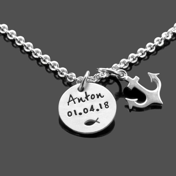 Taufkette-Junge-925-Silber-Kette-Gravur-Taufgeschenk