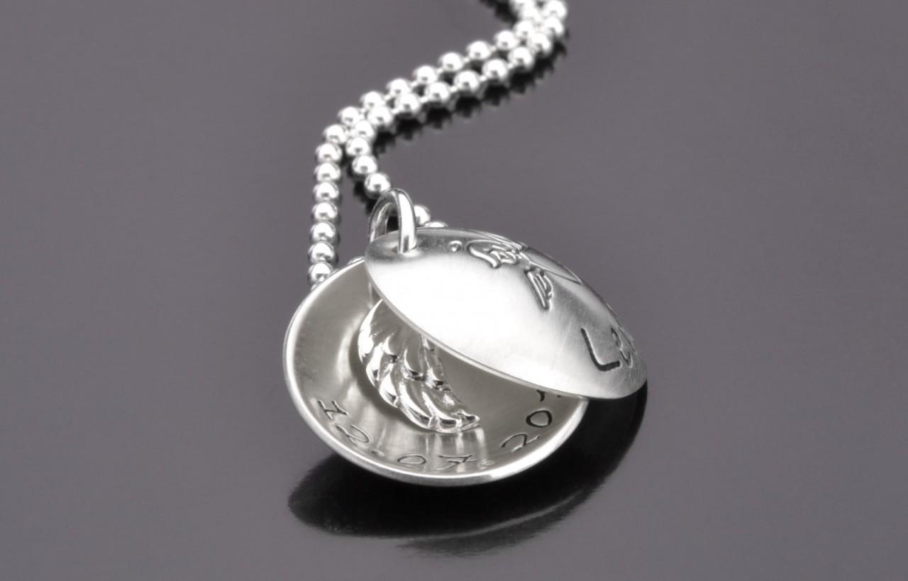 FLÜGELCHEN 925 Silber Kindermedaillon