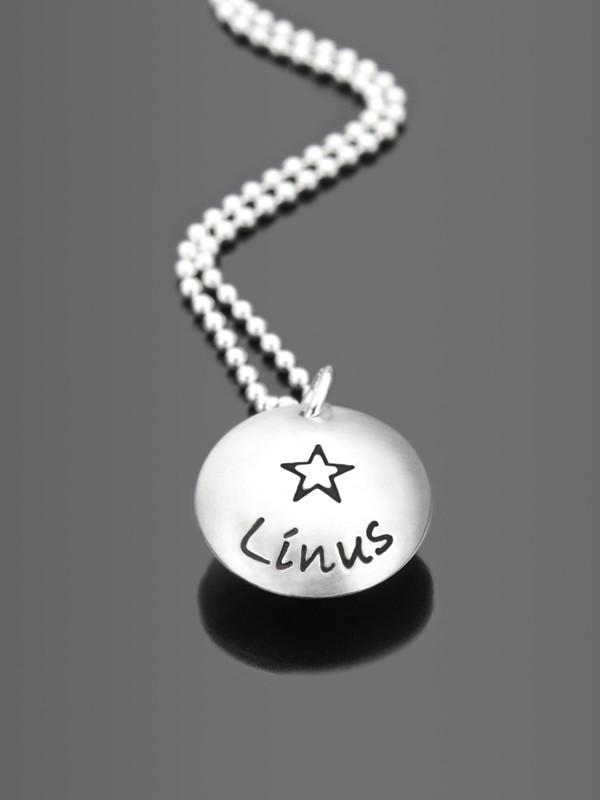 MEIN STERN 925 Silber Kindermedaillon mit Gravur