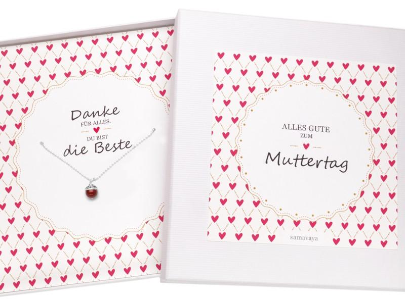BESTE MAMA 925 Silberkette Muttertag Geschenkverpackung Gravur