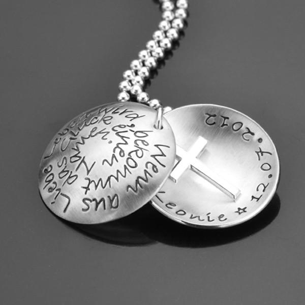 Taufkette mit Spruch und Kreuz