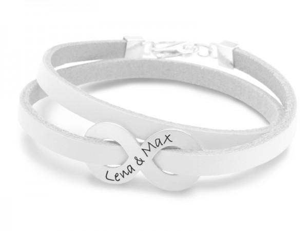 Armband INFINITY WOMAN 925 Silber Lederarmband Namensgravur