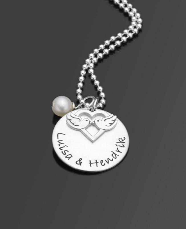Namenskette TURTELTAUBEN 925 Silberkette Gravurschmuck
