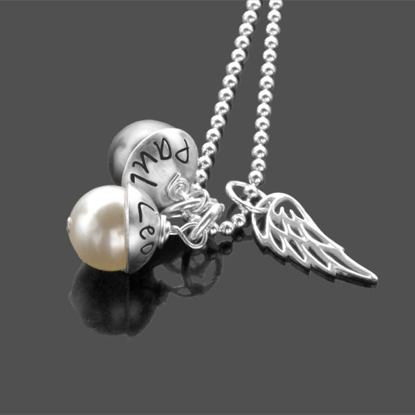 Namenskette LYHO DOUBLE WING 925 Silber mit Gravur und Engelsflügel