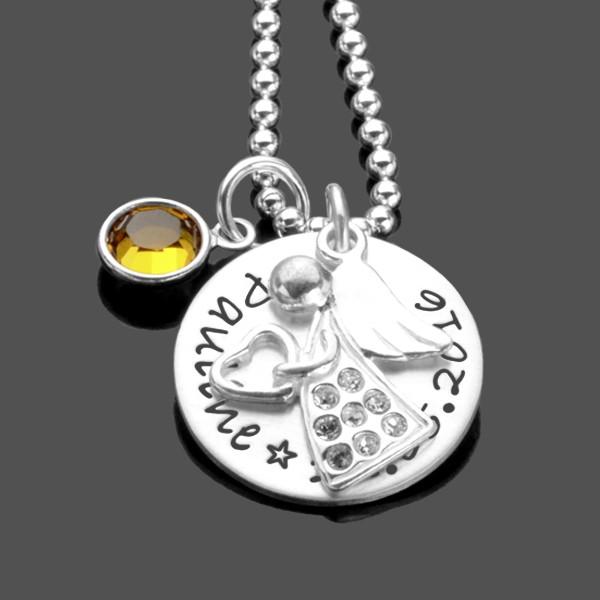 Taufkette Schutzengel GLITZERENGEL KRISTALL Silberkette