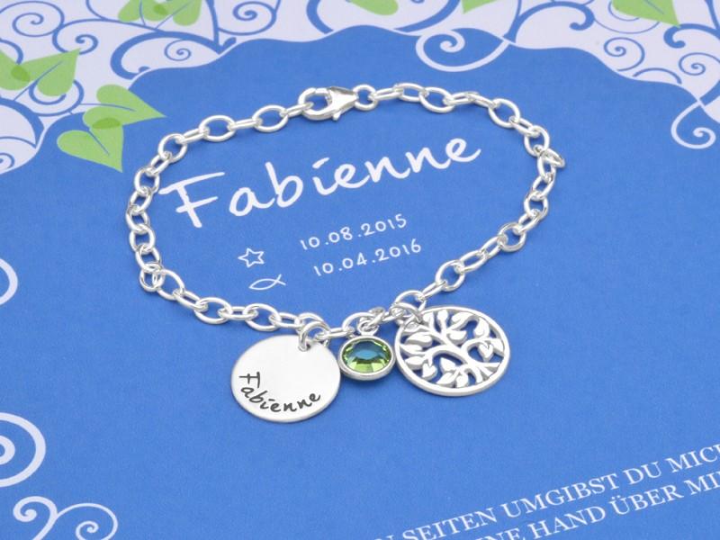 Taufarmband mit Namensgravur 925 Silber LEBENSBÄUMCHEN mit Geschenkbox Geschenkkarton