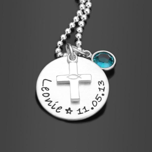SEGNE MICH 925 Silber Taufkette mit Namensgravur, Silberkreuz und Christenfisch