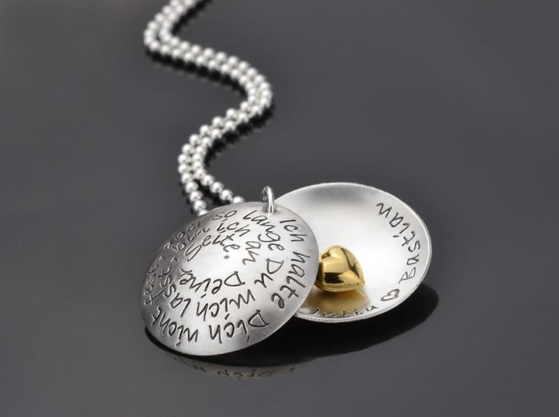 WAS WÄR ICH OHNE DICH Kette mit Gravur, Name, Spruch, 925 Silber